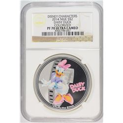 2014 NIUE ONE OUNCE SILVER DAISY DUCK COLORIZED COIN NGC PF-70 ULTRA CAMEO