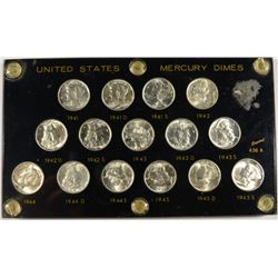 1941-1945 MERCURY DIME SET, SUPERB GEM BU IN PLASTIC HOLDER (15) COINS COMPLETE