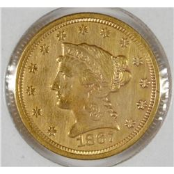 1867-S $2.50 GOLD LIBERTY  XF+  RARE
