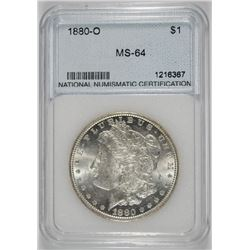 1880-O MORGAN SILVER DOLLAR NNC GRADED GEM BU - RARE