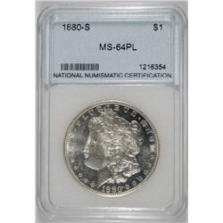 1880-S MORGAN SILVER DOLLAR NNC GRADED GEM BU PL