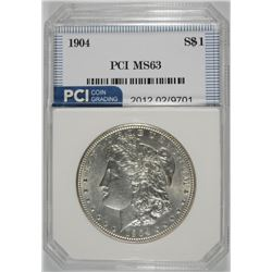 1904 MORGAN SILVER DOLLAR PCI CHOICE BU BLAST WHITE