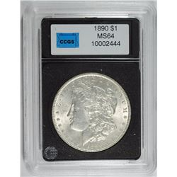 1890 MORGAN SILVER DOLLAR, CCGS GEM BU