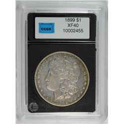 1899 MORGAN SILVER DOLLAR, CCGS XF  SEMI-KEY
