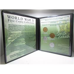 World War II Five Cents Collection - 4 Canadian 5 Cent Nickel Coins