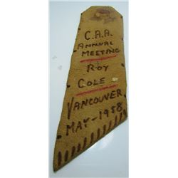 As Found - C.A.A. Annual Meeting Ribbon - May 1958 - Vancouver