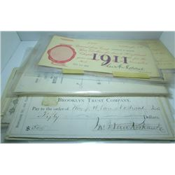 Collection Of Vintage USA Cheques - Late 1800's & Early 1900's