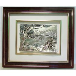 Framed 3D Romantic Scene Colourized Silver Artwork