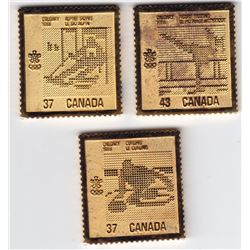 3 x 1988 Calgary Olympics Gold Plated Sterling Silver Postage Stamps By Canada Post