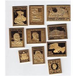 10 Gold Plated Sterling Silver Austrian Stamps - 206.25 Grams ASW