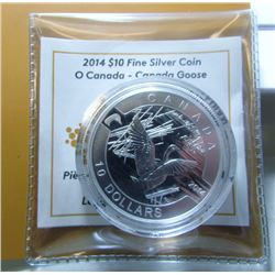 2014 Canada $10 Fine Silver Coin - Canada Goose - By RCM