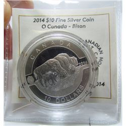 2014 Canada $10 Fine Silver Coin - Bison - By RCM