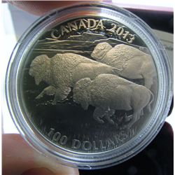 2013 Canada $100 Fine Silver Coin By RCM - Bison Stampede