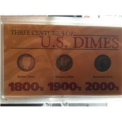 3 Centuries of US Dimes