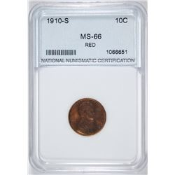 1910-S LINCOLN CENT, NNC SUPERB GEM BU RED  SEMI-KEY