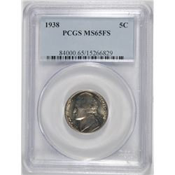 1938 JEFFERSON NICKEL, PCGS MS-65  FULL STEPS