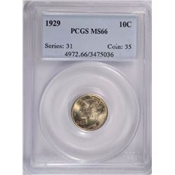 1929 MERCURY DIME, PCGS MS-66