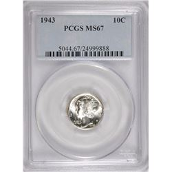 1943 MERCURY DIME, PCGS MS-67