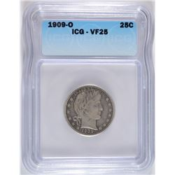 1909-O BARBER QUARTER ICG, VF-25