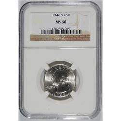 1946-S WASHINGTON QUARTER, NGC MS-66