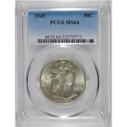 1945 WALKING LIBERTY HALF DOLLAR, PCGS MS-64