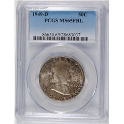 1949-D FRANKLIN HALF DOLLAR, PCGS MS-65 FBL TONED
