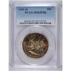 1951-D FRANKLIN HALF DOLLAR PCGS MS-65 FBL NICE COLOR!