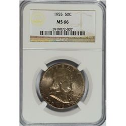 1955 FRANKLIN HALF DOLLAR NGC MS-66 NICE TONING!
