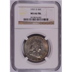 1957-D FRANKLIN HALF DOLLAR NGC MS-66 FBL RARE!!