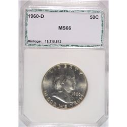 1960-D FRANKLIN HALF DOLLAR, PCI SUPERB GEM BU