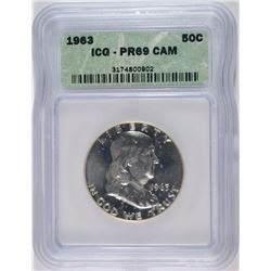 1963 FRANKLIN HALF DOLLAR, ICG PROOF-69 CAM RARE!!
