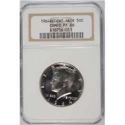 "1964 KENNEDY HALF DOLLAR ""ACCENT HAIR"" NGC CAMEO PROOF-66 RARE!!"