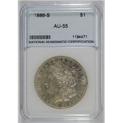 1886-S MORGAN SILVER DOLLAR, NNC GRADED AU+