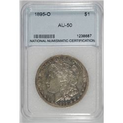 1895-O MORGAN SILVER DOLLAR, NNC GRADED AU  KEY COIN!