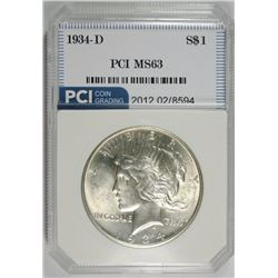 1934-D PEACE SILVER DOLLAR, PCI CH BU FLASHY