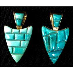 Pair of Turquoise Inlay Pendants
