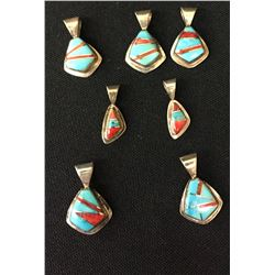 Turquoise and Coral Inlay Pendant Lot