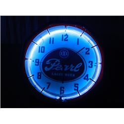 "Pearl Lager Beer, Lighted Neon Clock, OLD, 18.75""x18"", Metal/Glass. NO SHIPPING, PICK-UP ONLY, OLD"