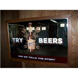 "Try Shiner Bock Beers Framed Bar Mirror, 48""x32"", Pick-Up Only, NO SHIPPING! Very Nice!"