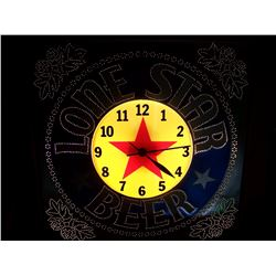 "OLD Lone Star Punched Tin Lighted Clock, 20""x20"", Original Box, We Will Ship This Item!"