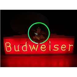 "Budweiser King of Beers, NEON Sign, 14""x30"" with AB logo on top, NO SHIPPING, PICK-UP ONLY"