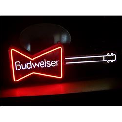 "Budweiser Guitar NEON Sign, 15""x41"", NO SHIPPING, PICK-UP ONLY, NO RESERVE!"