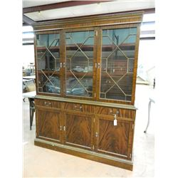 "Flamed and Ribbon Mahogany China Cabinet, 72""h x 60""w x 17.5""d, minor imperfections as any used"