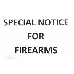 SPECIAL NOTICE FOR FIREARM PURCHASES