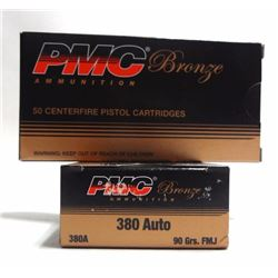 2 Boxes of 50 Centerfire Cartridges of PMC .380