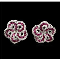 1.80ctw Ruby and Diamond Earrings - 18KT White Gold