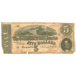 $5 1864 Richmond Virginia Confederate States of America Bank Note