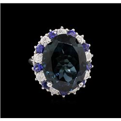 14KT White Gold 20.82ct Topaz, Sapphire and Diamond Ring