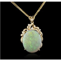 14KT Yellow Gold 8.71ct Opal and Diamond Pendant With Chain