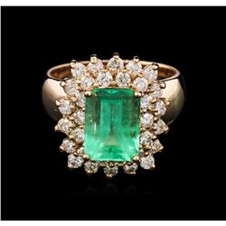 3.66ct Emerald and Diamond Ring - 14KT Rose Gold